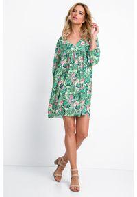 e-margeritka - Sukienka boho na lato - Greenjoungle, m. Kolekcja: moda ciążowa. Materiał: poliester, materiał, elastan. Wzór: nadruk. Sezon: lato. Styl: boho. Długość: mini