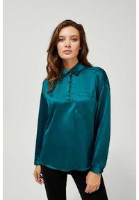 MOODO - Elegancka koszula z kołnierzykiem. Materiał: poliester, wiskoza, elastan. Długość rękawa: długi rękaw. Długość: długie. Wzór: gładki. Styl: elegancki