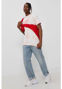 HUF - T-shirt bawełniany. Okazja: na co dzień. Kolor: pomarańczowy. Materiał: bawełna. Wzór: nadruk. Styl: casual