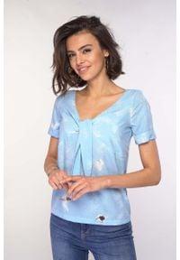 Nommo - Bluzka z Wiązaniem przy Dekolcie V - Błękitna. Kolor: niebieski. Materiał: wiskoza, poliester