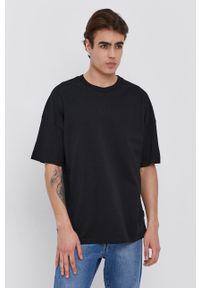 Sisley - T-shirt bawełniany. Kolor: czarny. Materiał: bawełna. Wzór: gładki