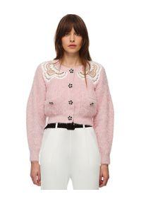 SELF PORTRAIT - Różowy kardigan z koronką. Kolor: wielokolorowy, fioletowy, różowy. Materiał: koronka. Długość: długie. Wzór: koronka