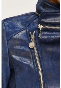 Niebieska kurtka Desigual z haftami, bez kaptura