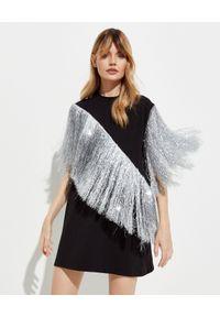 T-DRESS - Czarna sukienka mini ze srebrnymi frędzlami. Kolor: czarny. Materiał: bawełna. Typ sukienki: asymetryczne. Długość: mini