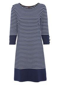 Niebieska sukienka bonprix z dekoltem w łódkę, w paski, sportowa, sportowa
