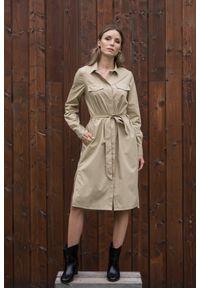 Beżowa sukienka VEVA z długim rękawem, szmizjerki, z klasycznym kołnierzykiem