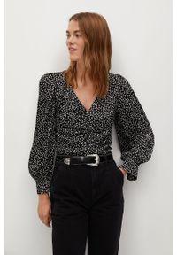 Czarna bluzka mango z długim rękawem, w kwiaty, długa, elegancka