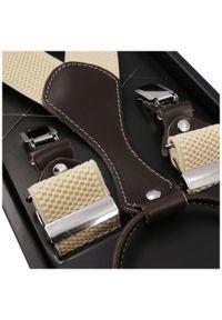 Modini - Beżowe szelki do spodni z brązowymi skórkami SZ55. Kolor: beżowy, brązowy, wielokolorowy. Materiał: skóra, guma