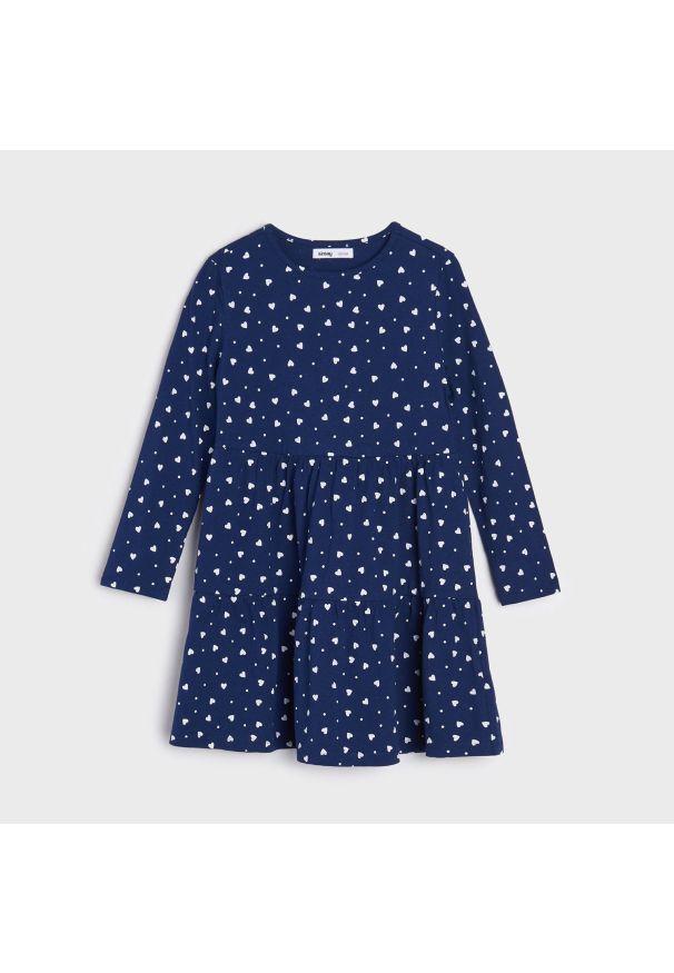 Sinsay - Sukienka z nadrukiem - Niebieski. Kolor: niebieski. Wzór: nadruk