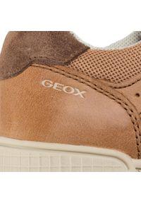 Brązowe półbuty Geox z cholewką, na rzepy, na co dzień