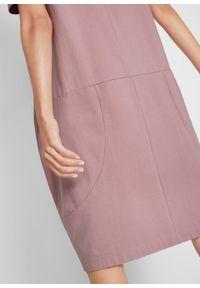 Sukienka bawełniana oversize, rękawy 1/2 bonprix różowobrązowy. Kolor: różowy. Materiał: bawełna. Typ sukienki: oversize