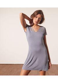 Liddy Lace Koszula Nocna Ze Wstawkami Koronki - M - Szaroniebieski - Etam. Kolor: niebieski. Materiał: koronka. Długość: krótkie. Wzór: koronka
