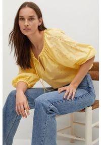 Żółta bluzka mango z haftami