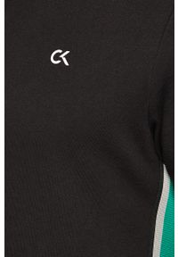 Czarna bluza rozpinana Calvin Klein Performance z nadrukiem, casualowa, bez kaptura, na co dzień