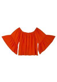 Czerwona bluzka TROLL z dekoltem typu hiszpanka, elegancka, na jesień