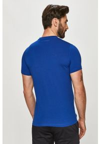 Niebieski t-shirt Karl Lagerfeld klasyczny, z aplikacjami