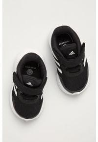 Czarne buty sportowe adidas Performance z okrągłym noskiem, do biegania, z cholewką
