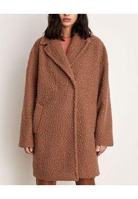 Marella - MARELLA - Brązowy płaszcz Infante. Kolor: brązowy. Materiał: materiał, jersey. Długość rękawa: długi rękaw. Długość: długie. Sezon: jesień