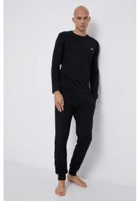 Emporio Armani Underwear - Piżama. Kolor: czarny. Materiał: dzianina, materiał. Długość: długie. Wzór: nadruk