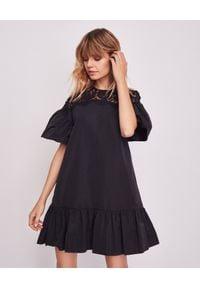 Czarna sukienka mini VALENTINO w kwiaty, baskinka, klasyczna
