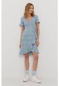 Niebieska sukienka only na co dzień, z krótkim rękawem, casualowa