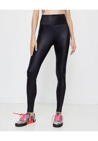 OFF-WHITE - Czarne legginsy z wysokim stanem. Stan: podwyższony. Kolor: czarny. Materiał: materiał. Długość: długie