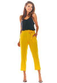 Żółte spodnie z wysokim stanem Awama