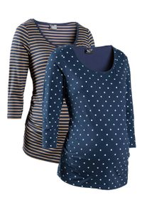Shirt ciążowy z nadrukiem (2 szt.), rękawy 3/4, bawełna organiczna bonprix ciemnoniebieski w groszki + w paski. Kolekcja: moda ciążowa. Kolor: niebieski. Materiał: bawełna. Wzór: grochy, paski, nadruk