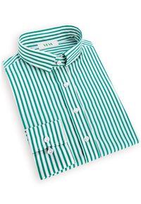 VEVA - Damska Koszula Klasyczna w Paski Zielona. Kolor: zielony. Długość rękawa: długi rękaw. Długość: długie. Wzór: paski. Styl: klasyczny