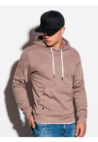Ombre Clothing - Bluza męska z kapturem B979 - brązowa - XXL. Typ kołnierza: kaptur. Kolor: brązowy. Materiał: bawełna, poliester. Styl: klasyczny