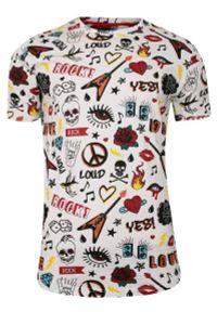 Biały Bawełniany T-Shirt Męski -Brave Soul- Koszulka, Krótki Rękaw, Czaszki, Serca, Mix Wzorów. Okazja: na co dzień. Kolor: wielokolorowy. Materiał: bawełna. Długość rękawa: krótki rękaw. Długość: krótkie. Wzór: nadruk. Sezon: lato, wiosna. Styl: casual