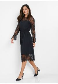 Czarna sukienka bonprix rozkloszowana, elegancka