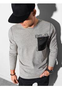 Ombre Clothing - Longsleeve męski z nadrukiem L130 - szary melanż - XXL. Kolor: szary. Materiał: tkanina, bawełna. Długość rękawa: długi rękaw. Wzór: nadruk, melanż