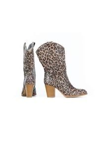 Zapato - kowbojki do połowy łydki - skóra naturalna - model 171 - kolor panterka. Materiał: skóra. Wzór: motyw zwierzęcy