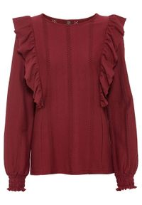 Czerwona bluzka bonprix z długim rękawem, długa
