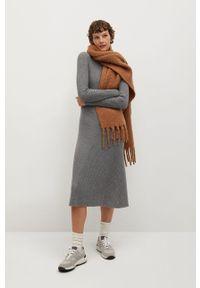 mango - Mango - Sukienka FLUS. Okazja: na co dzień. Kolor: szary. Materiał: dzianina. Długość rękawa: długi rękaw. Wzór: gładki. Typ sukienki: proste. Styl: casual