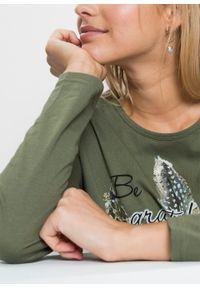 Zielona bluzka bonprix z długim rękawem, z nadrukiem, długa