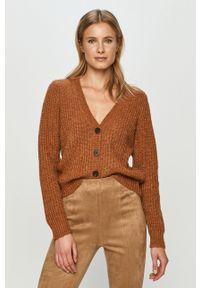 Brązowy sweter rozpinany Jacqueline de Yong z długim rękawem, casualowy