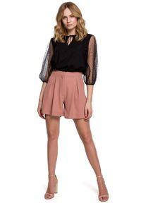 Różowe spodnie z wysokim stanem MOE eleganckie, z podwyższonym stanem, krótkie