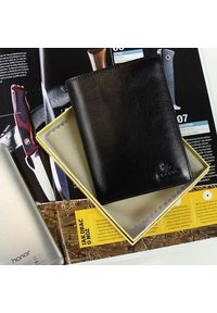 Krenig - Skórzany portfel męski KRENIG Classic 12001 czarny. Kolor: czarny. Materiał: skóra