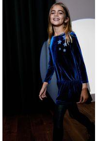 Niebieska sukienka Mango Kids mini, z aplikacjami, z długim rękawem, rozkloszowana
