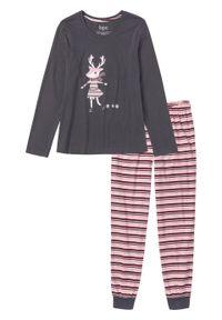 Piżama bonprix szaro- pastelowy jasnoróżowy z nadrukiem