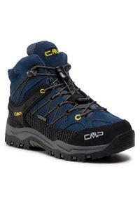 Trekkingi CMP - Kids Rigel Mid Trekking Shoe Wp 3Q12944 Blue Ink/Yellow 10MF. Okazja: na spacer. Kolor: niebieski. Materiał: zamsz, materiał, skóra. Szerokość cholewki: normalna