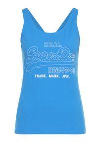 Superdry Top Outline Pop Entry Vest W6010061A Niebieski Oversize. Kolor: niebieski