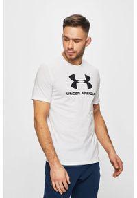 Biały t-shirt Under Armour z nadrukiem, casualowy, na co dzień