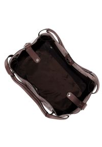 Brązowa torebka worek Wittchen z tłoczeniem, elegancka, w kolorowe wzory
