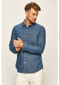 Niebieska koszula Levi's® klasyczna, na spotkanie biznesowe, długa