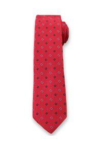 Wyrazisty Krawat Męski w Kwiaty - 6 cm - Angelo di Monti, Czerwony. Kolor: czerwony. Wzór: geometria