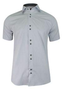 Szara elegancka koszula Jurel z krótkim rękawem, na spotkanie biznesowe, krótka