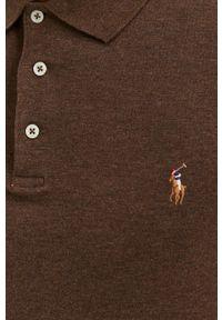 Polo Ralph Lauren - Longsleeve bawełniany. Okazja: na co dzień. Typ kołnierza: polo. Kolor: brązowy. Materiał: bawełna. Długość rękawa: długi rękaw. Styl: casual
